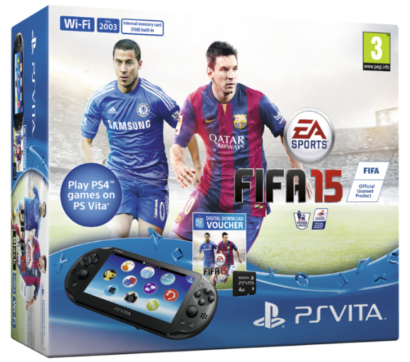 PlayStation Vita Slim Console WiFi + FIFA 15 Voucher + 4 GB Memory Card (PSVita), Sony Computer Entertainment
