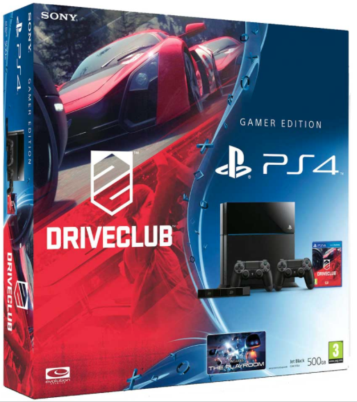 Boxart van PlayStation 4 (500 GB) + Driveclub + 2 controllers + Camera (PS4), Sony Entertainment