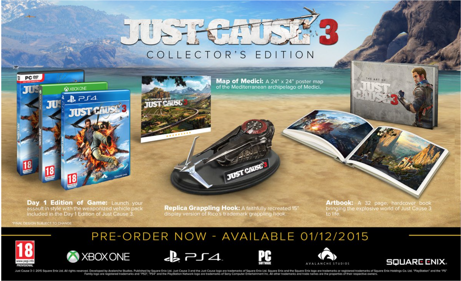 Boxart van Just Cause 3: Collector's Edition (Xbox One), Avalanche Studios