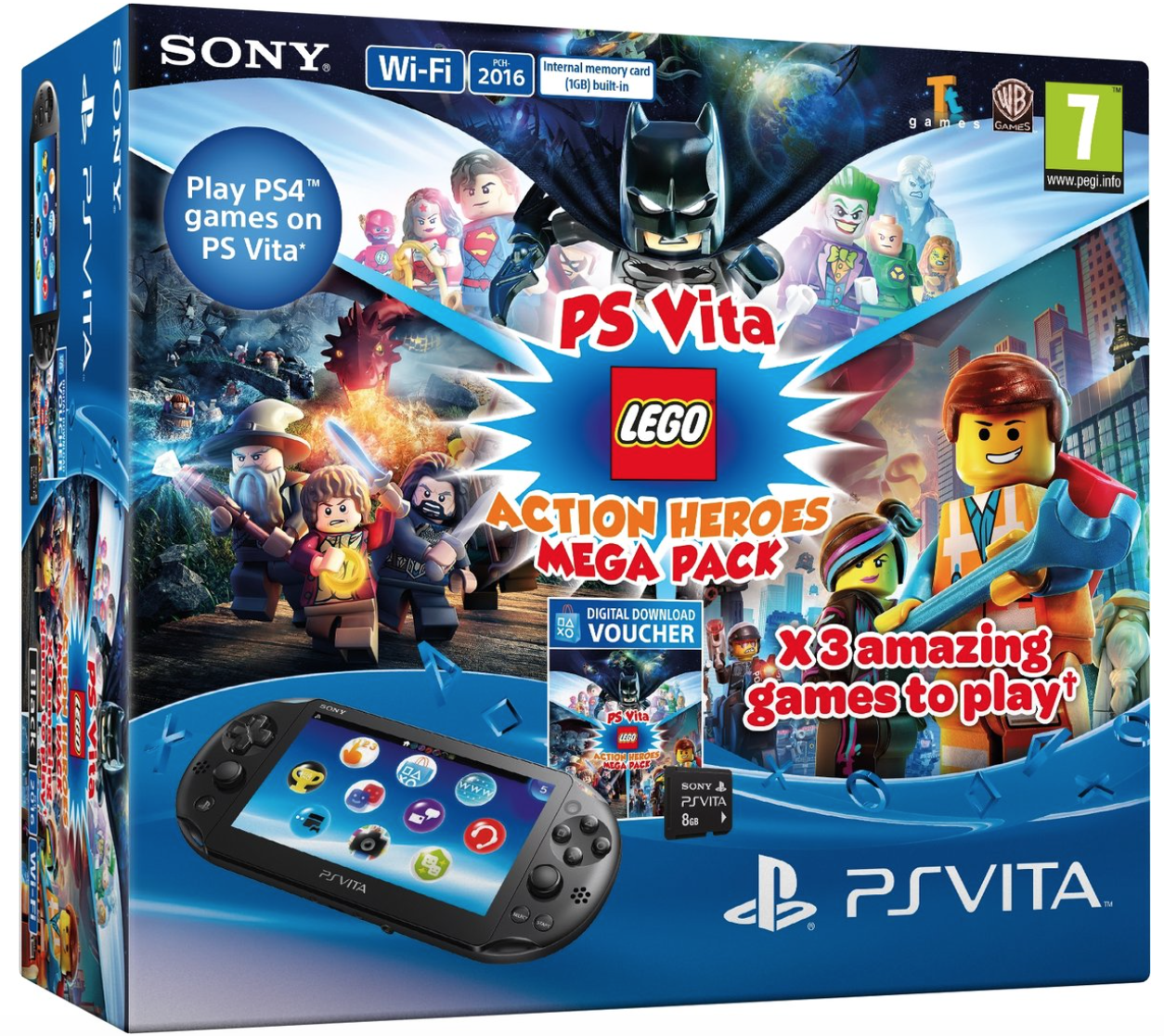 Boxart van PlayStation Vita Slim Console WiFi + 8GB Memory Card + LEGO Action Heroes Mega Pack Voucher (PSVita), Sony Entertainment