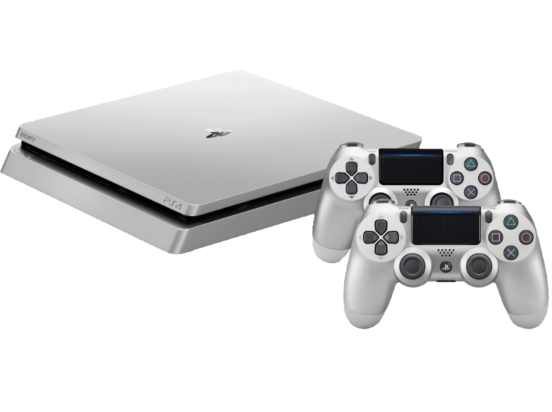 Boxart van PlayStation 4 Slim (500 GB) (Zilver) + 2 controllers (PS4), Sony Computer Entertainment