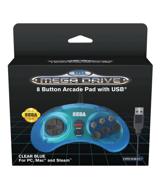 Boxart van Retro-Bit SEGA Mega Drive 8-Button USB Controller Clear Blue (PC), Retro-Bit