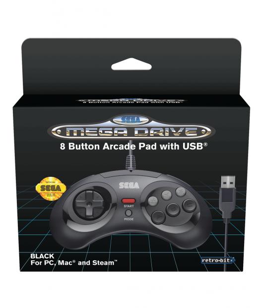 Boxart van Retro-Bit SEGA Mega Drive 8-Button USB Controller Black (PC), Retro-Bit
