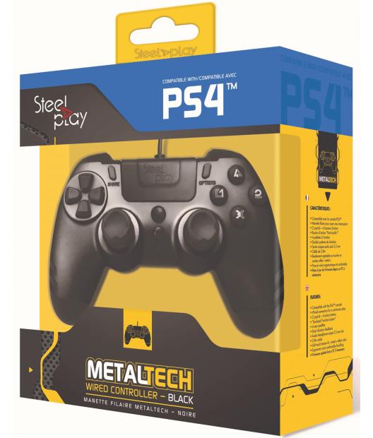 Boxart van Steelplay MetalTech Wired Controller - Ebony Black (PS4), Steelplay