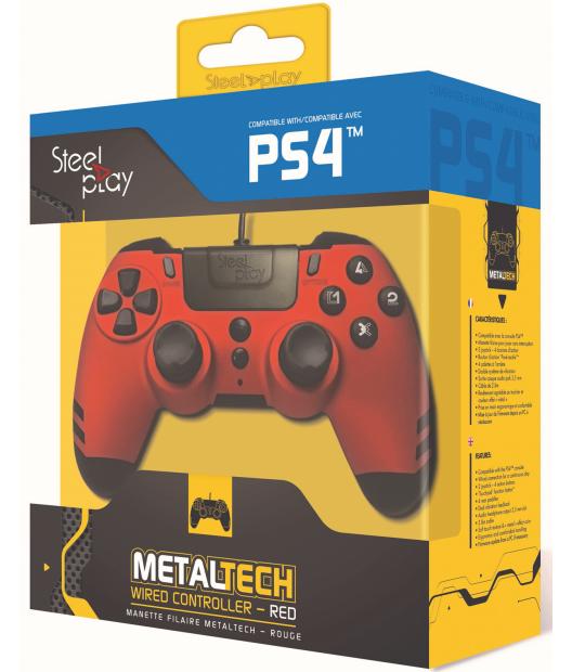 Boxart van Steelplay MetalTech Wired Controller - Ruby Red (PS4), Steelplay