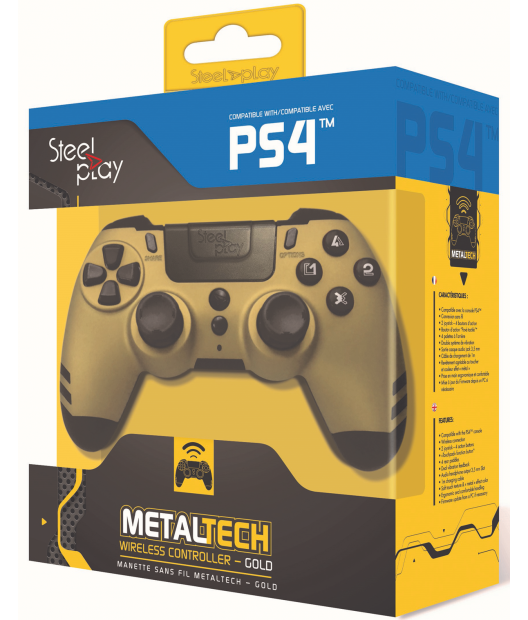 Boxart van Steelplay MetalTech Wireless Controller - Gold (PS4), Steelplay