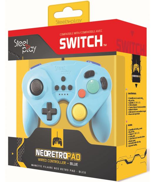 Boxart van Steelplay Wired Neo Retro Controller Blue - Switch (Switch), Steelplay