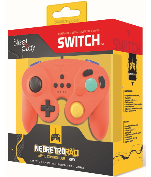 Boxart van Steelplay Wired Neo Retro Controller Red - Switch (Switch), Steelplay